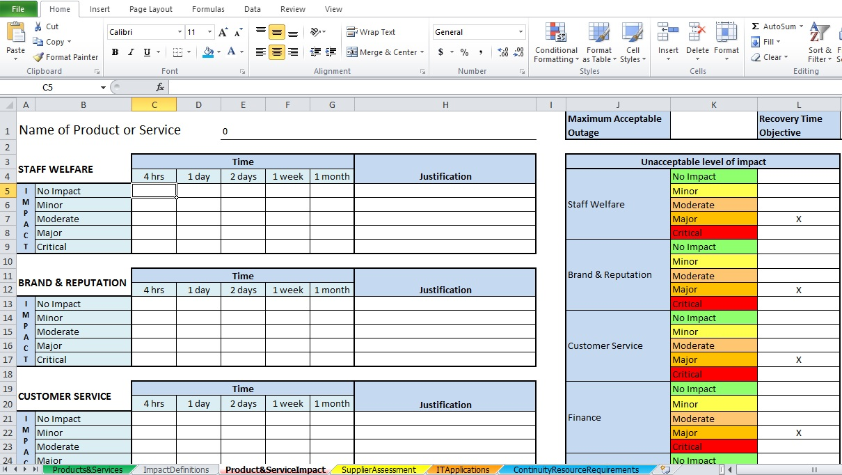 project template excel