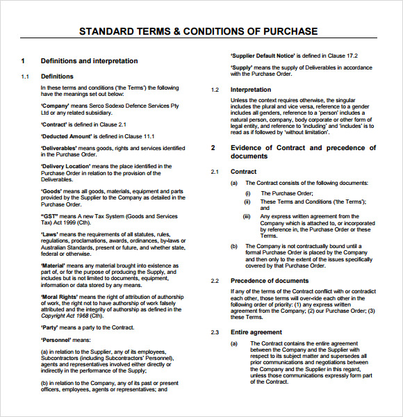 purchase order template word