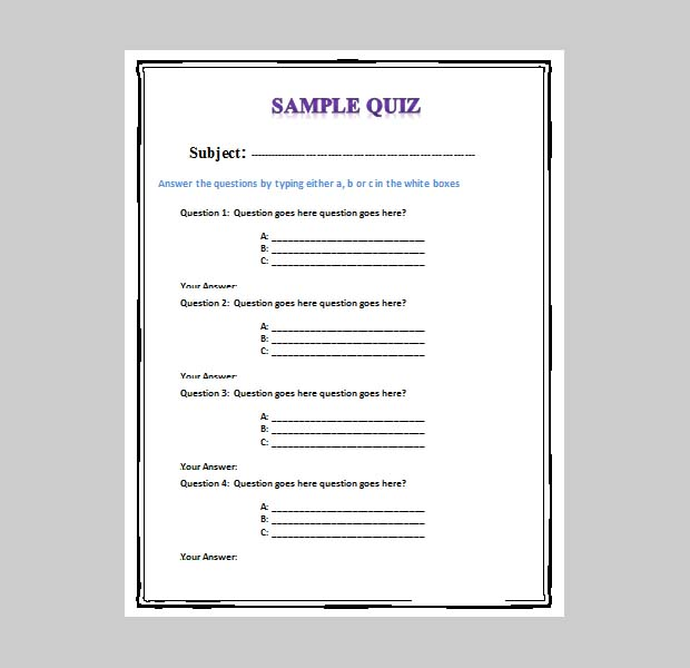 quiz template word