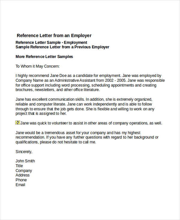 recommendation letter template for job