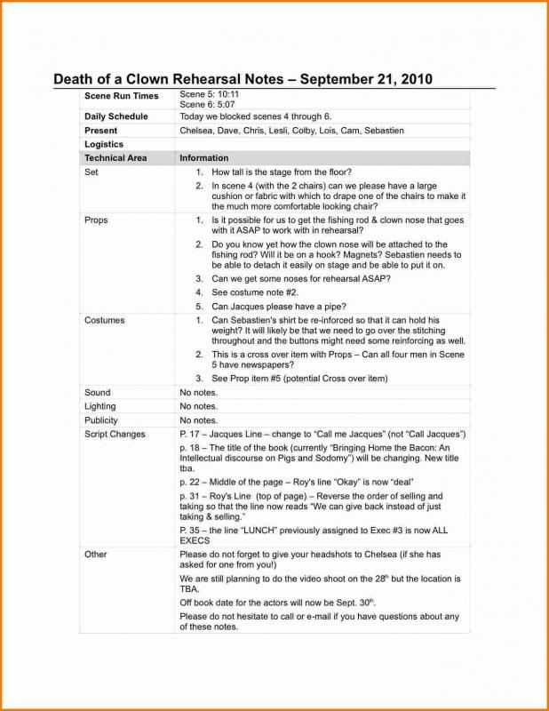 rehearsal report template