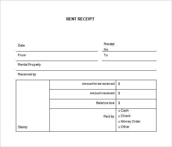 rent receipt template word
