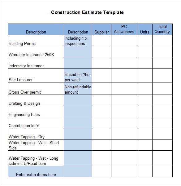 Residential Construction Budget Template  Resume Ideas  NamanasaCom