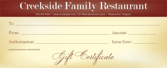 Restaurant gift certificate template shatterlionfo restaurant gift certificate template yelopaper Images