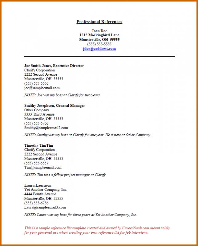 resume reference page template