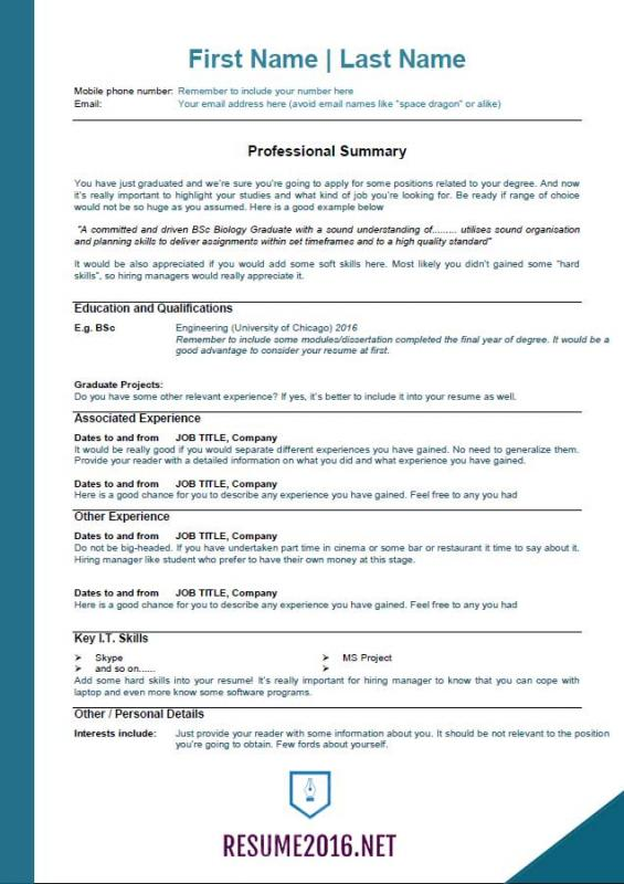 resume template 2016