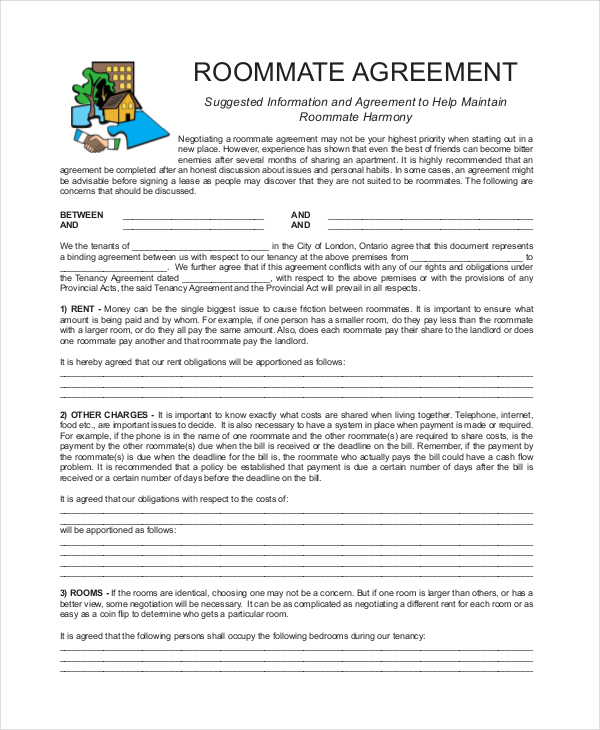 Roommate Contract Template Shatterlionfo