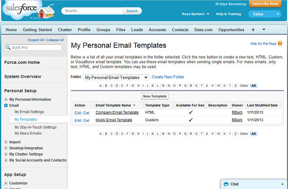 salesforce create email template