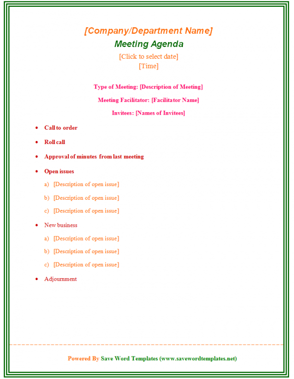 sample agenda template