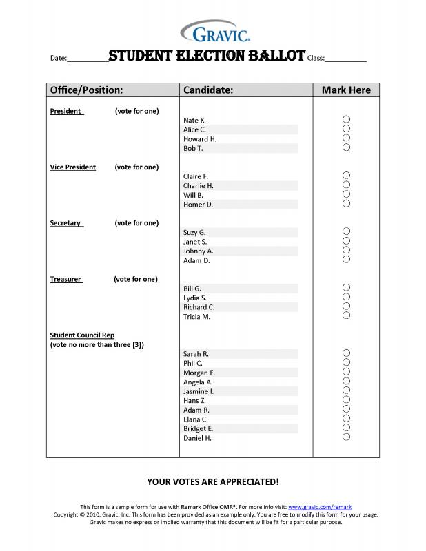 Sample ballot template for Election ballots template