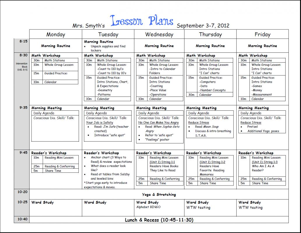 Pattern Lesson Plan Template. Sample Lesson Plan Template