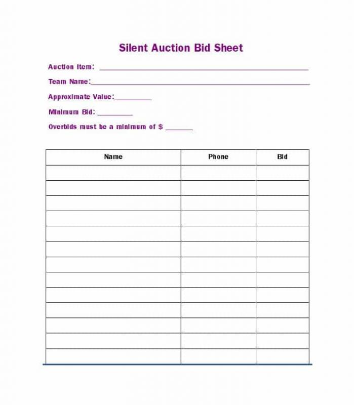 silent auction bid sheet template