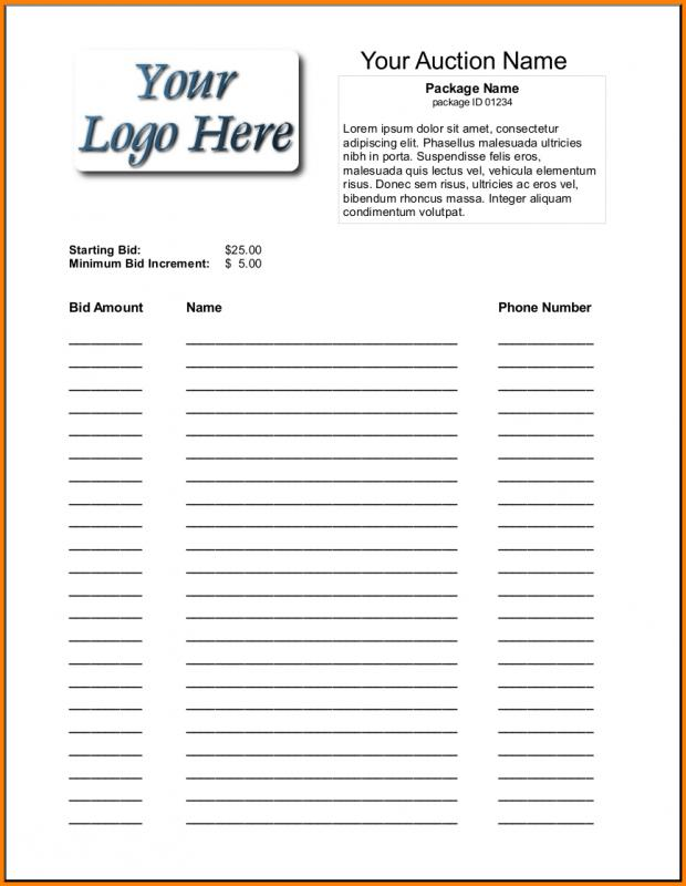 Silent auction template for Auction bid cards template
