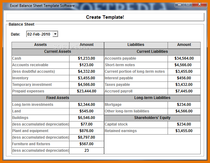 easy balance sheet template simple balance sheet template