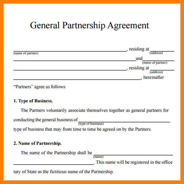 simple partnership agreement template free