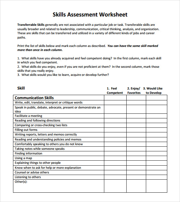 skills assessment template