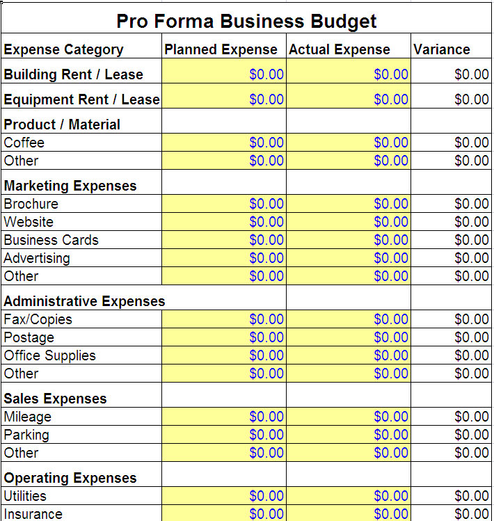 Small business budget template shatterlionfo small business budget template friedricerecipe Gallery