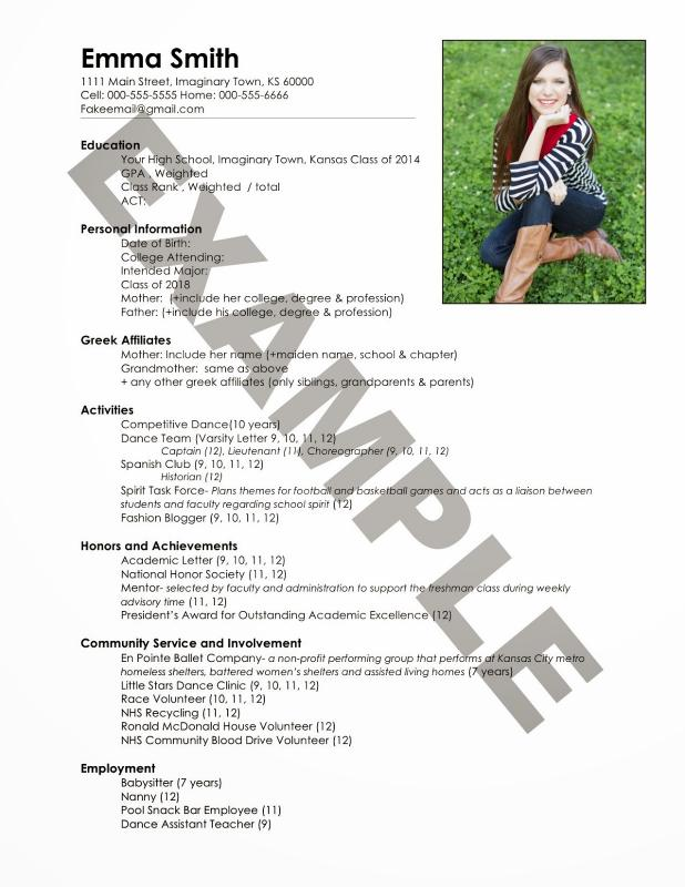 Sorority Resume Template  ShatterlionInfo