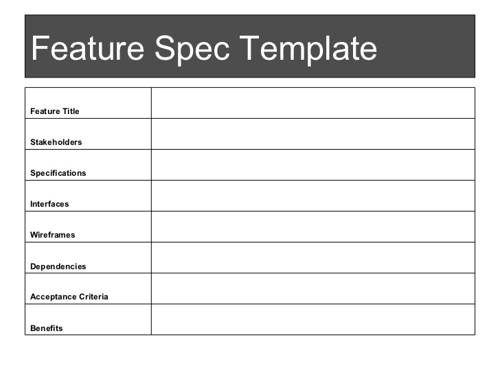 new product specification template - spec sheet template