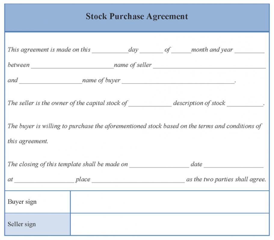 Stock Purchase Agreement Template  ShatterlionInfo