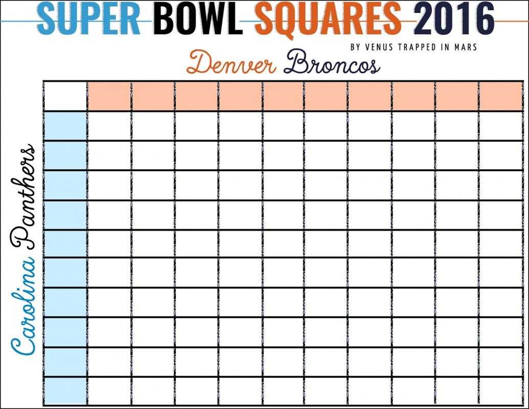 Super bowl squares template excel for Free super bowl pool templates