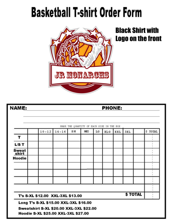 t shirt order form template