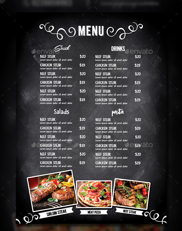 Table tent template word for Roman menu template