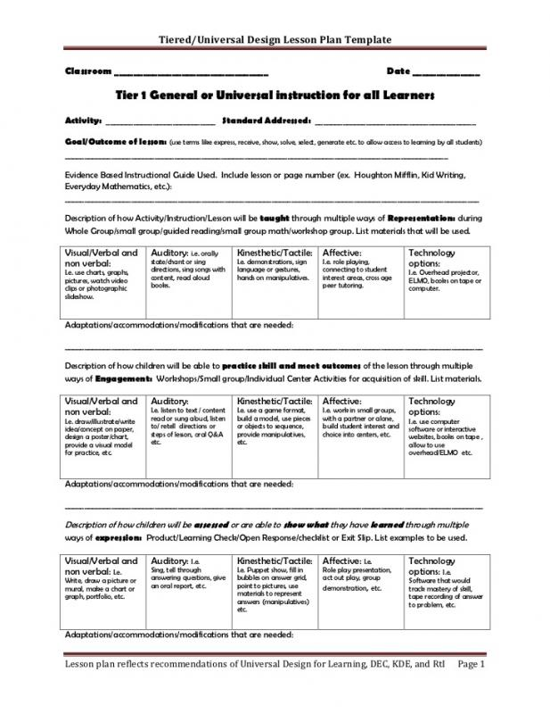 Pretty Tiered Lesson Plan Template Images Gallery Differentiated