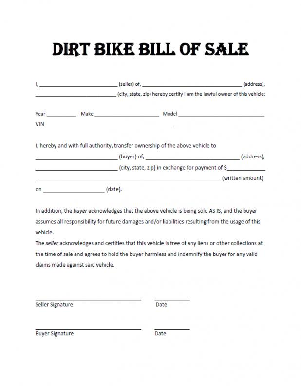 bill of sale for dirt bike template
