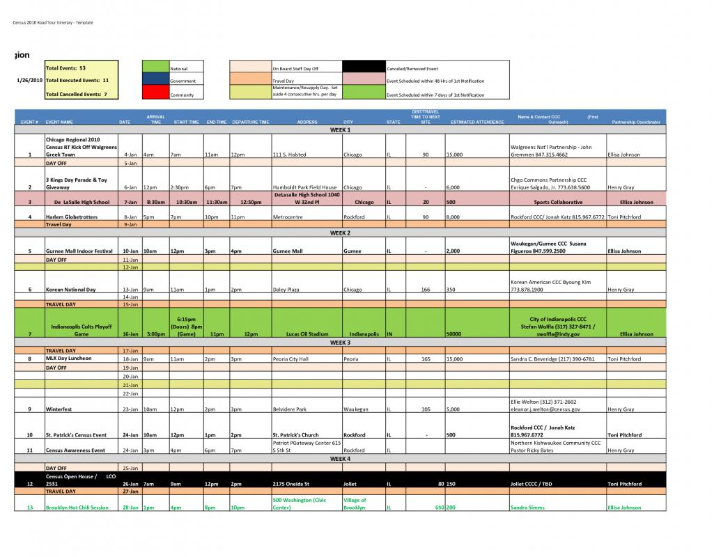 online itinerary template