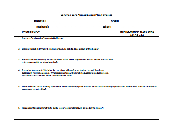 Unit Lesson Plan Template  ShatterlionInfo