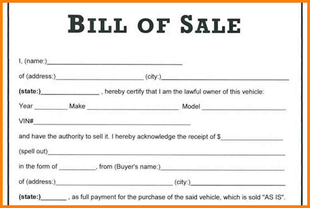 Used Car Bill Of Sale Template Shatterlion Info