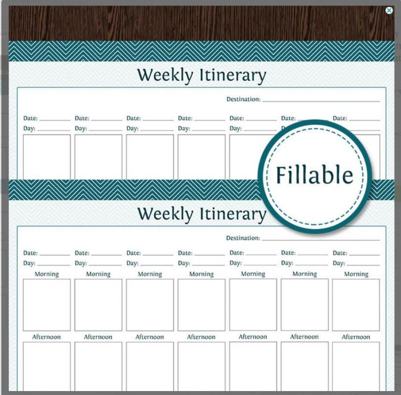vacation itinerary template