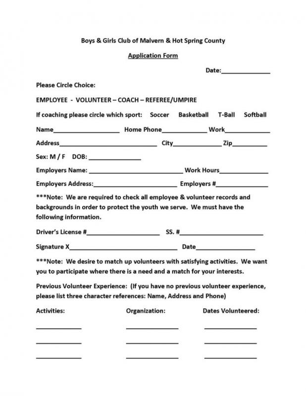 volunteer form template
