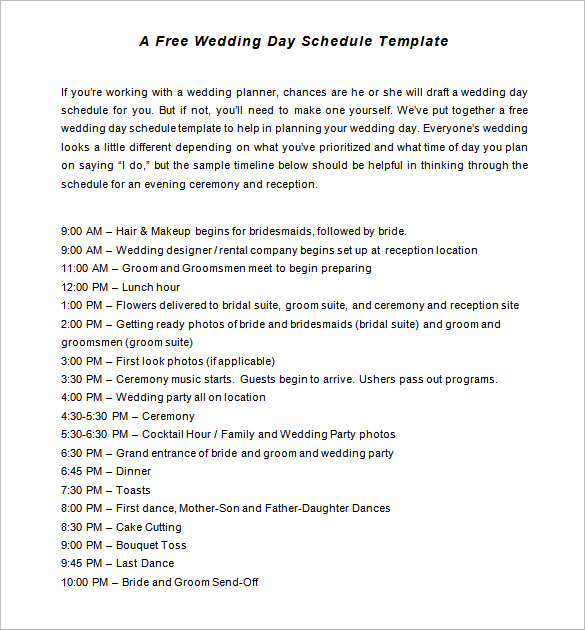 wedding reception timeline template
