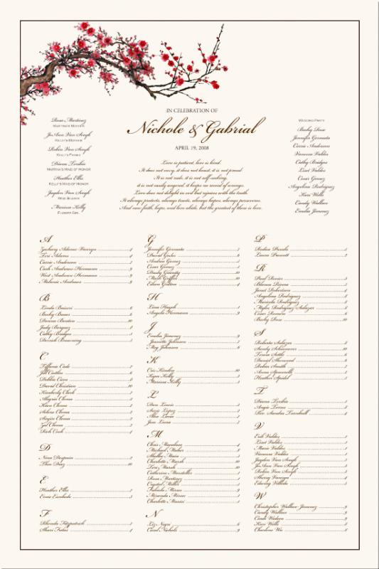 wedding seating chart template