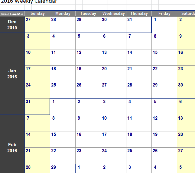 Weekly Calendar Template Excel Shatterlionfo