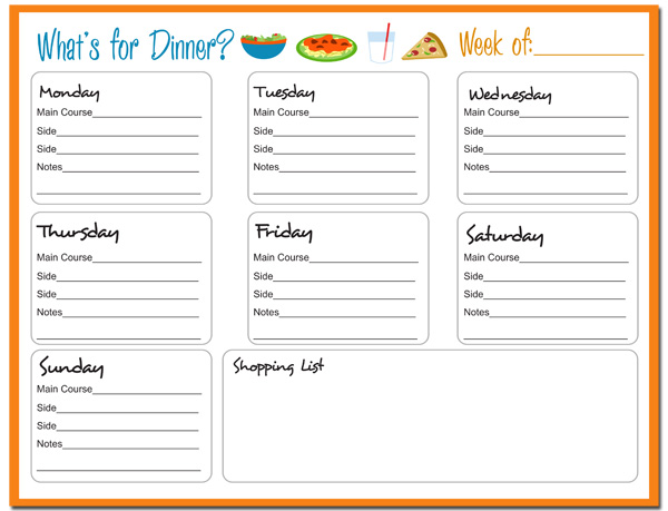 weekly food menu templates