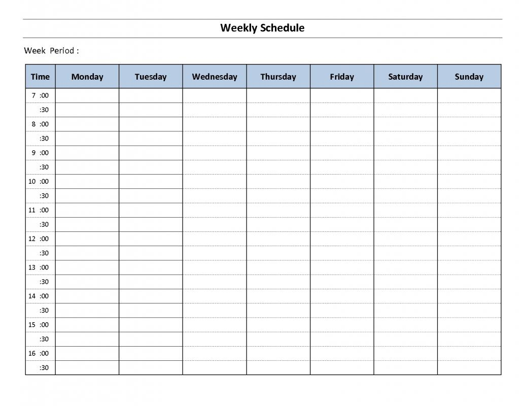 weekly hourly schedule template. Black Bedroom Furniture Sets. Home Design Ideas