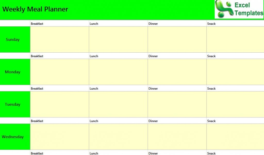 Weekly Meal Planner Template Excel Shatterlionfo