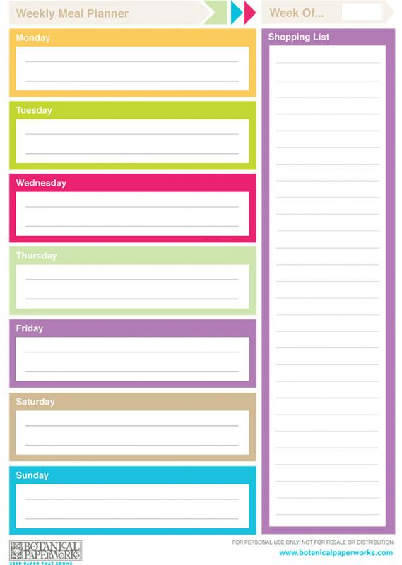 Weekly Menu Planner Template  Menu For The Week Template