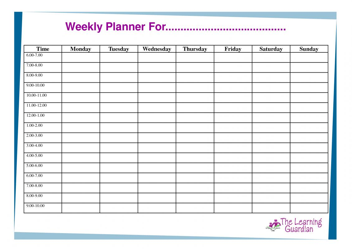 Weekly planner template excel shatterlionfo weekly planner template excel alramifo Image collections