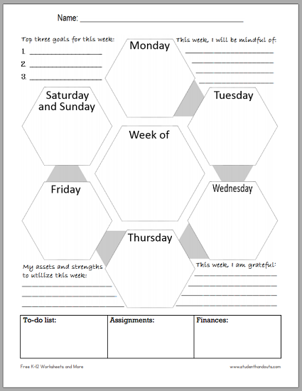 weekly schedule template printable