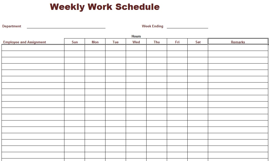 Weekly work schedule template for Personnel roster template