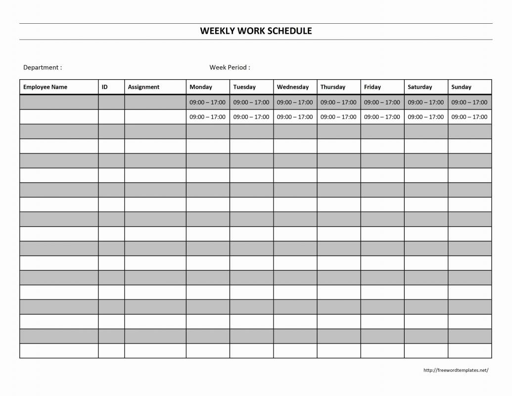 blank weekly employee schedule