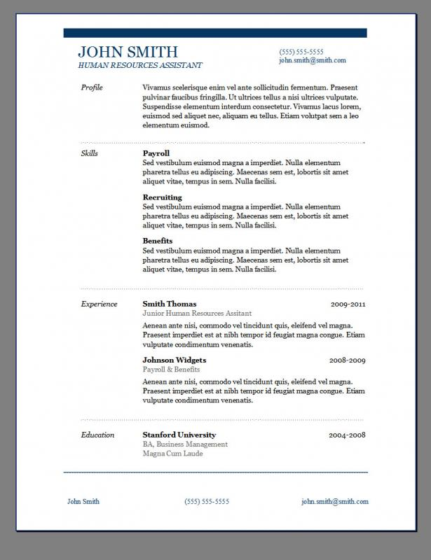 Wordpad Resume Template  Resume Templates For Wordpad