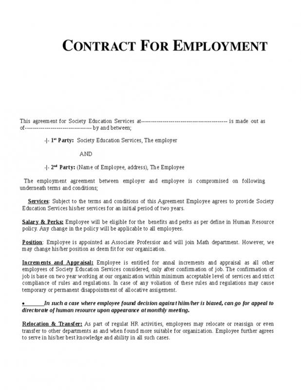 Work Contract Template  ShatterlionInfo