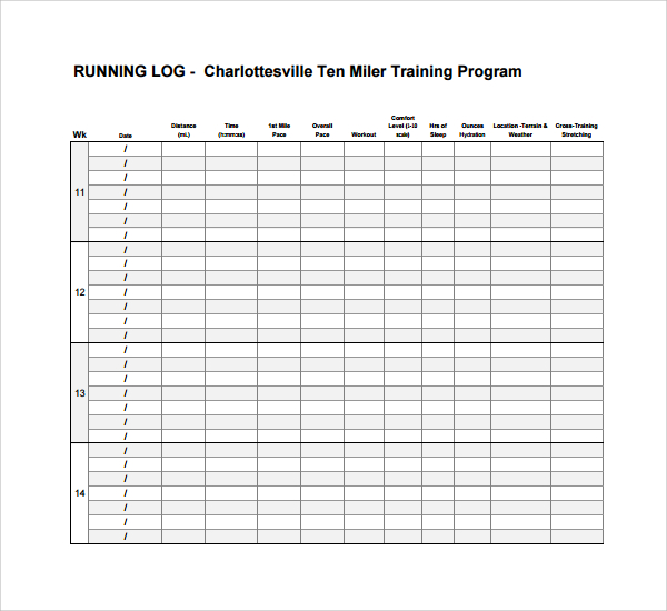 Workout log template excel for Running training calendar template