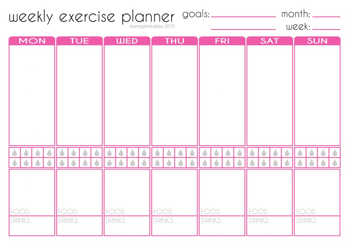 Workout planner template for Fitness plan template weekly