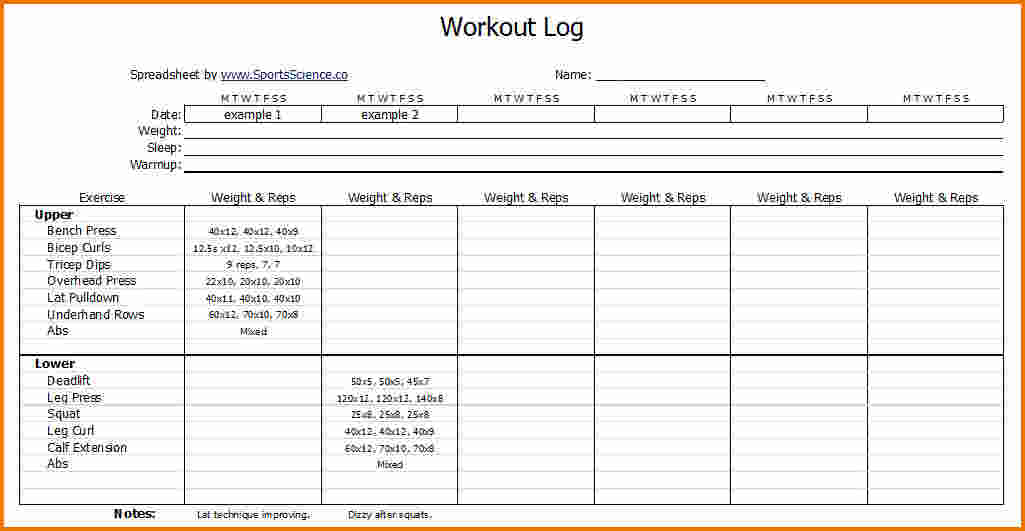 workout planner template